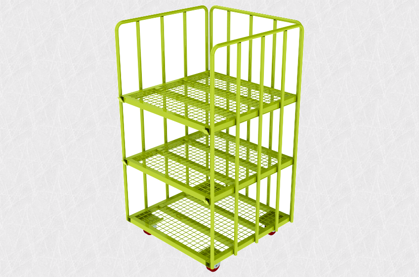Steel pallet-trolley with mesh shelves